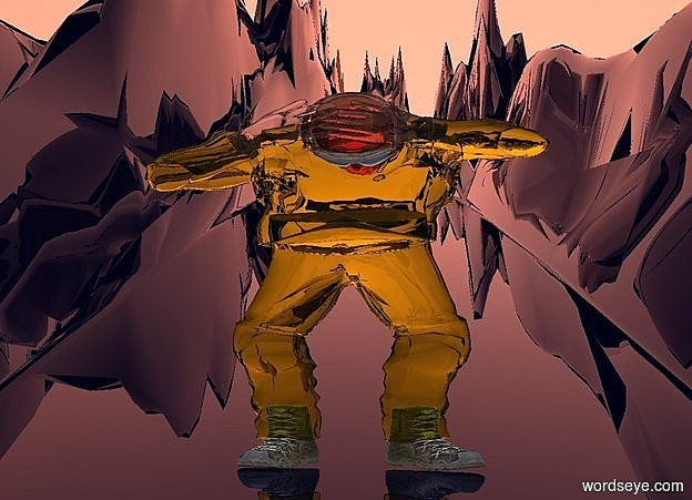 Input text: a 600 inch tall and 600 inch wide and 70 inch deep clear yellow man..sky is 80% dim peach.ground is visible and clear blue.ground is 400 feet tall and 3000 feet wide and 300 feet deep.the man is facing west.ambient light is gainsboro.the helmet of the man is clear.the glove of the man is clear.the mask of the man is clear peach.camera light is black.