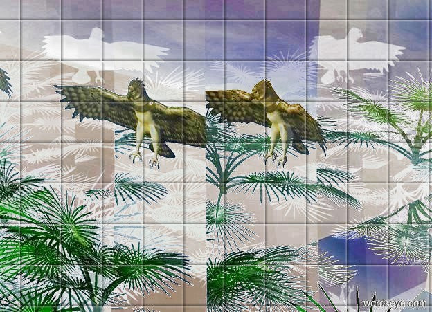 Input text: a 1 foot tall jungle is -2 feet above a 2 foot tall clear cube. backdrop is invisible. ground is invisible. sky leans to the back. a .5 foot tall bird is above the jungle. a lemon light is in front of  the bird.
