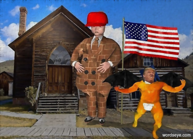 Input text: a 100 inch tall man.the dress suit of the man is 30 inch wide [brick].a 13 inch tall red cap is -10 inch above the man.the image of the cap is red.the tie of the man is [brick].a 100 inch tall flag is right of the man.a 60 inch tall [trump] is in front of the flag.