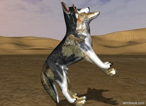 The 3.2 foot tall dog is -5.25 feet in front of and -4.76 feet above the 1st wolf. The animals lean 45 degrees to the back.