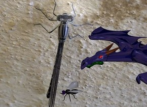 image-15249 backdrop. A 20% shiny dark navy dragon is 1 foot above and behind a humongous fly.