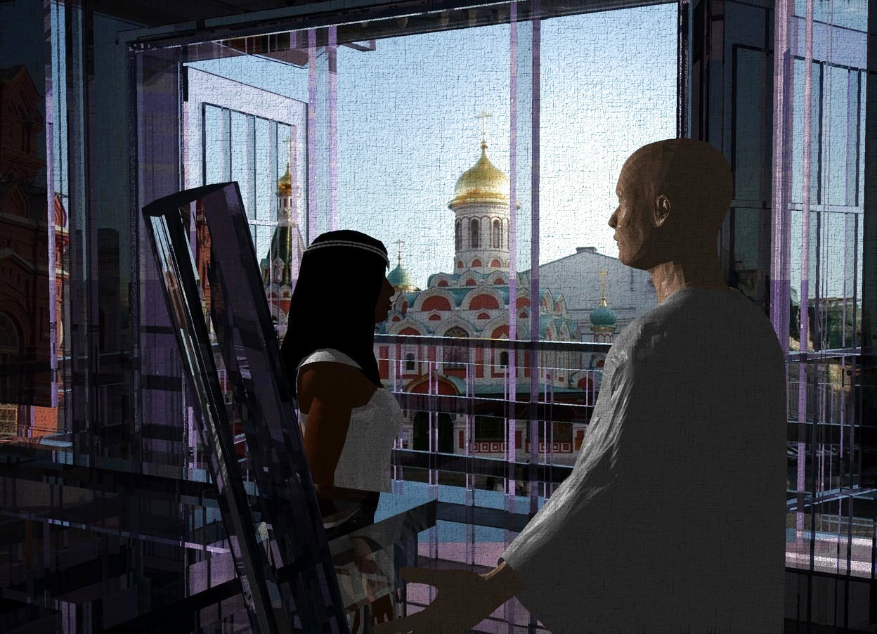 Input text: Russia backdrop. A woman is -15 feet in front of and -27 feet left of and -18 feet above a clear house. The hair of the woman is black. The clothes of the woman is white and 10% shiny. Camera light is black. A light is above and -3 feet left of the woman. The woman is facing southwest. A man is 6 inch left of the woman. He is facing the woman.
