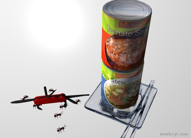 Input text: A second 20% shiny food can is on a first 20% shiny food can. White backdrop. The first food can is on a clear plate. Camera light is black. A light is left of and in front of the plate. An ant is left of and in front of the plate. It is facing the plate. An ant is left of and behind the ant. It is facing the plate. An ant is behind the ant.  It is facing the plate. An ant is right of and behind the ant. An ant is 3 inch left of the ant. It is facing the ant. An ant is 2 inch in front of the ant. It is facing the plate. An ant is 1 inch left of the ant. A large pocket knife is on and right of the ant. It is facing the plate.