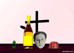there is a big  black cross on Purple Ground. the sky is light pink. there is a huge yellow bottle  3 feet in front of the cross. there is a red light 2 Inches above the cross. there is a pale face Right of the bottle. a huge cigar is left of the cross. the cigar is 3 feet above the Ground. there is a red big [mud]hat Right of the face. there is a green Lantern 1 feet left of the bottle.
