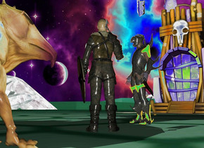 space backdrop.the 3d ground is visible.a man.a knight is 3 feet left of the man.the man is facing southwest.the knight is facing southeast.a tower is 8 feet left of the knight.it is facing the knight.a monster is 2 feet right of the man.it is facing the man.