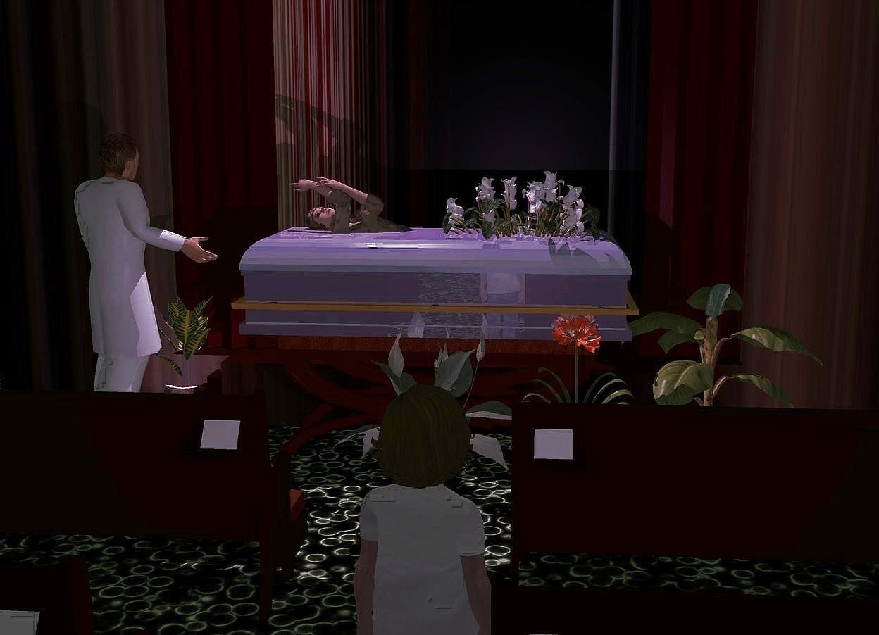 Input text: a shiny granite gray coffin is -6 inch above a 6 feet wide and 3 feet tall and 2.5 feet deep bench.the handle of the coffin is brass. the bench faces left. the cushion of the bench is wood. 1st 2 feet tall cyclamen is -3.5 feet in front  of and -1.1 feet above the coffin. 2nd 2 feet tall cyclamen is -2.1 feet above the 1st cyclamen. it leans 12 degrees to the left.a clear woman is -2.5 feet above and -6.7 feet in front of the coffin. she leans 64 degrees to the back. 1st 8 feet long pew is 3 feet left of and -1.5 feet in front of the bench. it faces right. 2nd 8 feet long pew is 3 feet behind the 1st pew. it faces right. 3rd 8 feet long pew is 2 feet left of the 1st pew. it faces right. 4th 8 feet long pew is 2 feet left of the 2nd pew. it faces right. a stage is right of the bench. it faces left.the wall of the stage is river. ground is [texture]. a man is 1 feet behind the bench. he faces southeast. a girl is behind the 3rd pew. she faces right. the head of hair of the girl is goldenrod. shirt of the girl is [texture]. camera light is black. a 3 feet tall and 2 feet wide tube is 5 feet above and -3 feet behind the coffin. a lavender light is -2 feet above the tube. a dim lavender light  is -10 inch above and right of the girl.sun is black. a potted plant is in front of the bench. a 3 feet tall lily is -1 feet left of the bench. 2nd potted plant is -5 inch in front of the lily. it faces left. a  3rd potted plant is right of the man. it faces right.