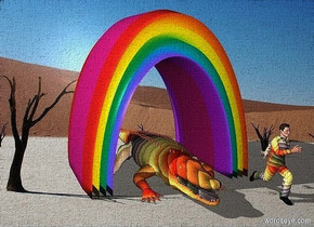 a 850 inch tall and 850 inch wide and 700 inch deep rainbow.sky is black.a 200 inch tall rainbow crocodile is -850 inch above the rainbow.a 350 inch tall rainbow man is right of the crocodile.the man is -260 inch in front of the crocodile.