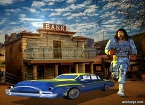 a ghost town backdrop.a 100 inch tall and 200 inch wide and 800 inch deep  delft blue  car.a 300 inch tall shiny brute is 50 inch right of the car.six orange lights are 100 inch above the car.