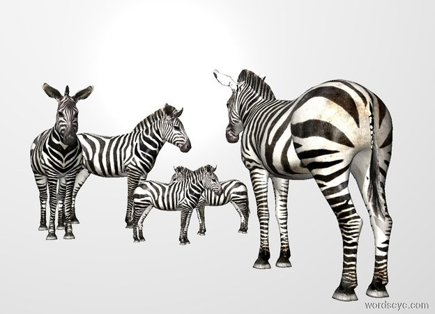 Input text: THE WHITE BACKDROP. The ground is invisible. a 1st small zebra. a 2nd zebra is behind the 1st zebra.it is facing southwest.a 3rd small zebra is 1 feet right of the 1st zebra.it is facing northwest.a 4th zebra is right of the 2nd zebra.it is facing south.a 5th zebra is left of the 1st zebra.it is facing northeast.the 5th zebra is in front of the 1st zebra.