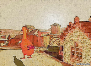 a 110  inch tall shiny cottage.the cottage is facing southwest.sky is gainsboro.backdrop is shiny.ambient light is orange.it is morning.a  50 inch tall shiny orange red  duck is 30 inch in front of the cottage.the  duck is -80 inch above the cottage.the  duck is facing west.