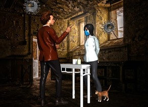 room backdrop.a man.a table is in front of the man.a woman is in front of the table.she is facing the table.a dispenser is on the table.a pale blue roll is on the table.a cat is left of the woman.it is facing north.a clear molecule is -6 inches above the man it is 2 inches behind the man.a 2nd clear molecule is above the woman.it is 3 inches left of the woman.the roll is leaning 90 degrees to the left.the 2nd molecule is -12 inches above the woman.