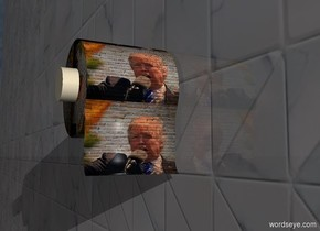 A toilet paper roll is 2.3 inch wide and 1.9 inch high trump. It is leaning 60 degrees to the back. It is 3 feet above the ground. The sun is black. Camera light is black. A light is 4 feet in front of and 3 inch above and -1 inch left of the toilet paper roll. A 10% shiny tile wall is right of the toilet paper roll. It is facing east. It is on the ground. A tiny cream cylinder is -3.8 inch above and -5 inch in front of and -5 inch right of the toilet paper roll. It is leaning 90 degrees to the right.