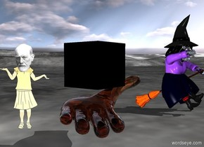A 5 foot tall glass hand is facing up.  The hand is one foot above the ground.  A black cube is 2 feet to the north of the center of the hand.  The cube is 17 inches tall.  The cube is -4 inches above the hand.  The cube is facing northwest.  A white light is below the hand.  Sun is 100% dim. A golden doctor is 8 inches to the southeast of the hand.  The doctor is 4 feet tall.  The doctor is facing north.  A silver witch is 1 foot to the southwest of the hand.  The witch is 6 feet tall.  The witch is facing northwest.