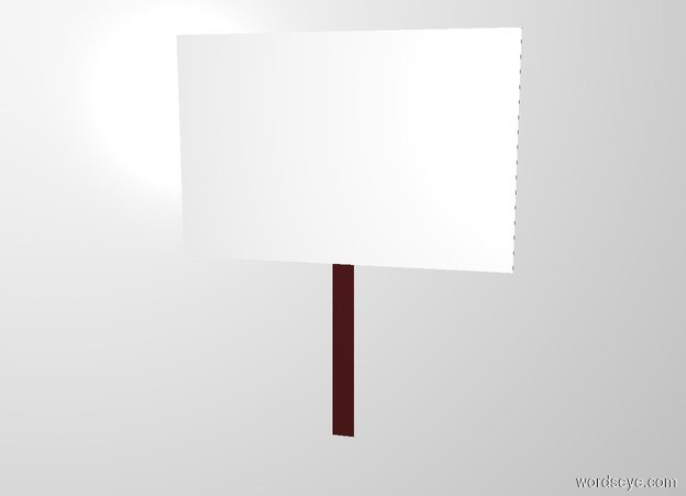 Input text: backdrop is white. a flat brown stick is 1 foot tall. a flat 1.5 foot wide and 1 foot tall cube is -.2 feet above and in front of the stick.