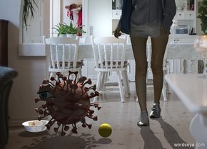 Kitchen backdrop. A 1.5 foot high covid is -3 inch right of a shiny bowl. A lemon tennis ball is right of the covid. A woman is 1 foot right of and 1 foot behind the bowl. Azimuth of the sun is 340 degrees. Camera light is black. A light is above and left of the woman. A dim light is in front of the woman. A large eye is -10 inch left of and -8 inch above and -2 inch in front of the covid.