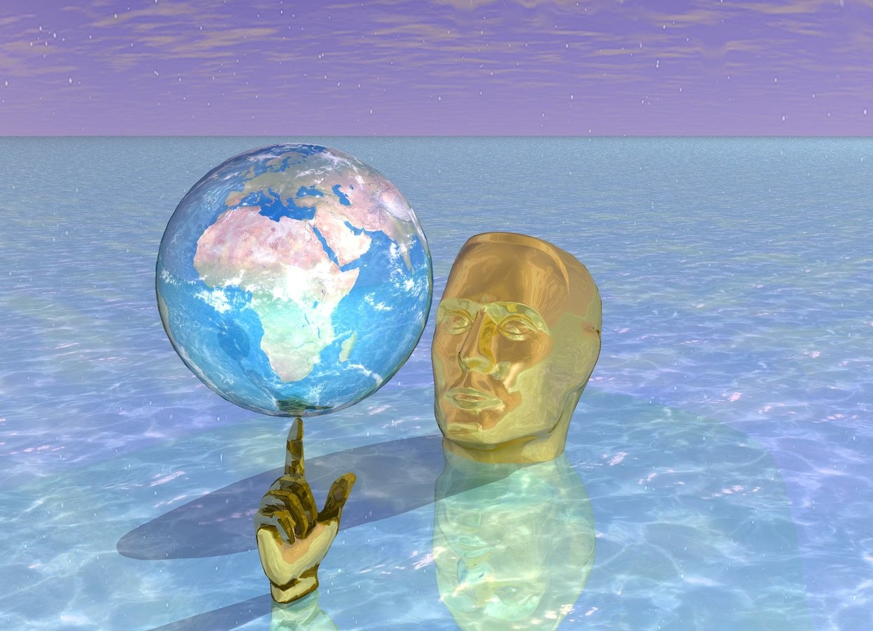 Input text: It is morning. The ground is shiny water.  There is a very giant gold hand. There is a large shiny earth 2 inch above the hand. The enormous gold head is -2.5 feet behind the hand. The head is -4 feet above the ground. The head is facing the hand. The head leans backwards. The head is 5 feet to the right. There is purple light on the head.