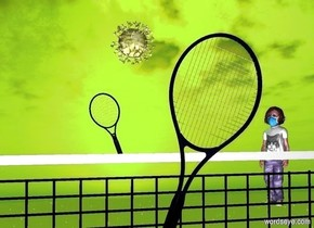 a 1st tennis racket leans to the left. a 2nd tennis racket is 10 feet behind the racket. it leans to the right.  a yellow covid is 5 feet in front of and above the racket. ground is invisible. sky leans 10 degrees to the back. sun's azimuth is 0 degrees.  a net is 2 feet beneath the COVID.  a person faces the COVID. the person is 5 feet behind and -4 feet right of the net. sun is lawn green.