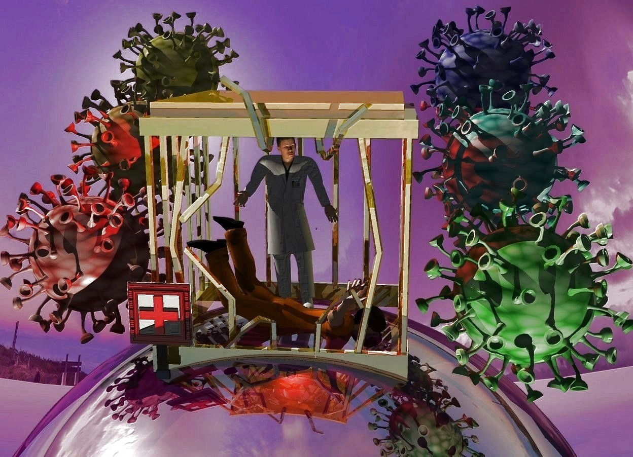 Input text: Dark purple shiny backdrop. Small 50% dark gold cage is 2 inch in a huge dark purple shiny sphere. Camera light is black. A man fits in the cage. He faces east. A 1 foot high medical doctor is -6 inch above the man. A red light is above the man. A dim lemon light is right of the cage. A cream light is -12 feet above and 10 feet in front of and right of the cage. A red covid is left of the cage. An orange covid is behind and -6 inch above the covid. A yellow covid is behind and -6 inch above the covid. A green covid is right of the cage. A cyan covid is behind and -6 inch above the covid. A blue covid is behind and -6 inch above the covid. Sky is leaning 10 degrees to the front. An extremely tiny 20% shiny sign is -3 inch left of and -2 inch in front of the cage. Sun is cream.