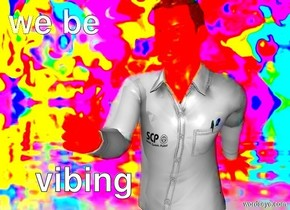 man holding a dvd in front of  a psychedelic backdrop