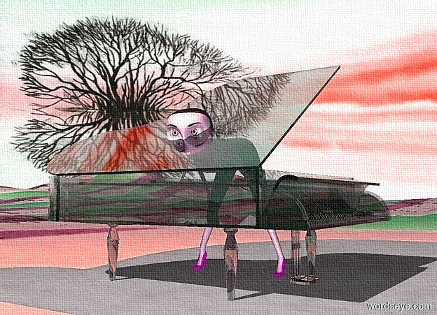 Input text: a 130 inch tall clear gainsboro grand piano.sky is 25000 inch wide [cloud]..a 100 inch tall woman is -130 inch above the grand piano.the woman is facing west.the woman is -100 inch right of the grand piano.ground is 450 inch wide  [sand].a yellow light is 40 inch above the woman.