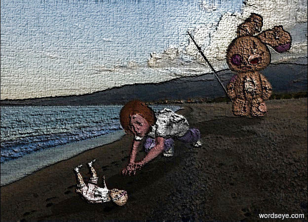 Input text: a face up toy.a girl is left of the toy.she is facing the toy.beach backdrop.a 2nd 5 feet tall toy is 5 feet left of the girl.it is facing the girl.
