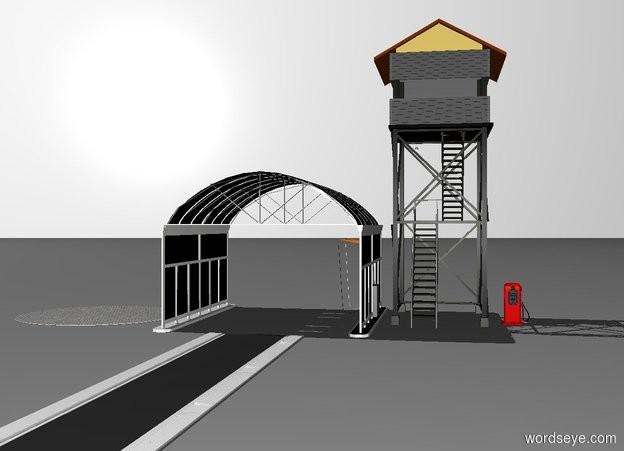 Input text: a 150 feet long and 15 feet wide road. a car wash is behind the road.a tiny lookout tower is right of the car wash. it faces back.a 7 feet tall gas pump is right of the lookout tower. the white backdrop. a 30 feet wide cement  rug is 3 feet left of the car wash.