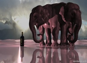 A shiny 60% dark pink 3D ground. A pink elephant is -6.5 feet right of a pink elephant. It is facing east. A large bottle is 4 feet in front of the elephant. Camera light is black. 2 pink lights are behind and 2 feet left of the bottle. The sun is grey. 2 dim pink lights are 20 feet right of the elephant.