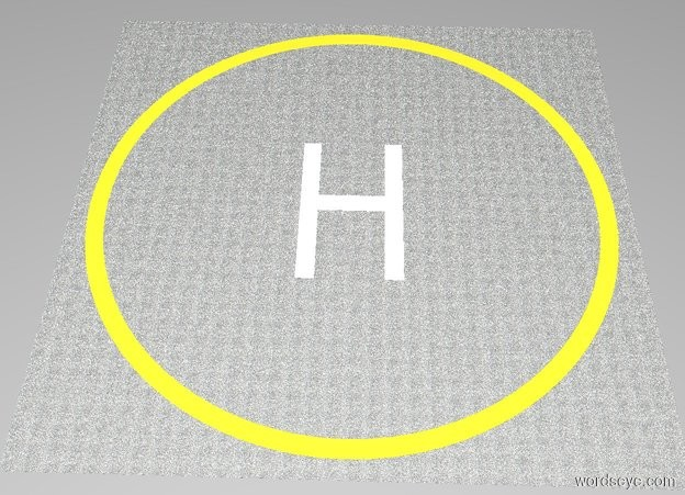 """Input text: The white backdrop. A 1st [asphalt] square is 64 feet wide and 64 feet deep and 0.001 inches tall. A 1st lemon circle is 60 feet wide and 0.001 inches tall. The 1st circle is in the 1st square. A 2nd [asphalt] circle is 56 feet wide and 0.001 inches tall. The 2nd circle is in the 1st circle. A 1st white """"H"""" is 141.6 inches wide and 236.2 inches tall and 0.001 inches deep. The 1st """"H"""" is facing up. The 1st """"H"""" is in the 2nd circle."""