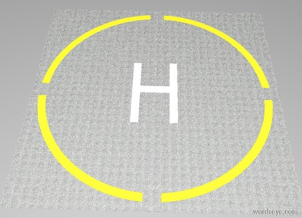 """Input text: The white backdrop. A 1st [asphalt] square is 64 feet wide and 64 feet deep and 0.001 inches tall.  A 1st lemon circle is 60 feet wide and 0.001 inches tall. The 1st circle is in the 1st square . A 2nd [asphalt] circle is 56 feet wide and 0.001 inches tall. The 2nd circle is in the 1st circle.  A 2nd [asphalt] square is 64 feet wide and 4 feet deep and 0.001 inches tall. The 2nd square is in the 2nd circle.  A 3rd [asphalt] square is 4 feet wide and 64 feet deep and 0.001 inches tall. The 3rd square is in the 2nd square.  A 1st white """"H"""" is 141.6 inches wide and 236.2 inches tall and 0.001 inches deep. The 1st """"H"""" is facing up. The 1st """"H"""" is in the 3rd square."""