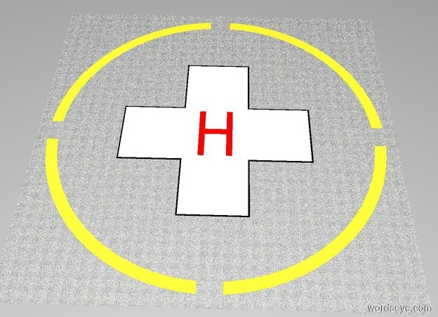 "Input text: The white backdrop. A 1st [asphalt] square is 64 feet wide and 64 feet deep and 0.001 inches tall.  A 1st lemon circle is 60 feet wide and 0.001 inches tall. The 1st circle is in the 1st square . A 2nd [asphalt] circle is 56 feet wide and 0.001 inches tall. The 2nd circle is in the 1st circle.  A 2nd [asphalt] square is 64 feet wide and 4 feet deep and 0.001 inches tall. The 2nd square is in the 2nd circle.  A 3rd [asphalt] square is 4 feet wide and 64 feet deep and 0.001 inches tall. The 3rd square is in the 2nd square.  A 4th black square is 34 feet wide and 12 feet deep and 0.001 inches tall. The 4th square is in the 3rd square.  A 5th black square is 12 feet wide and 34 feet deep and 0.001 inches tall. The 5th square is in the 4th square.  A 6th white square is 11.5 feet wide and 33.5 feet deep and 0.001 inches tall. The 6th square is in the 5th square.  A 7th white square is 33.5 feet wide and 11.5 feet deep and 0.001 inches tall. The 7th square is in the 6th square.  A 1st red ""H"" is 6 feet wide and 10 feet tall and 0.001 inches deep. The 1st ""H"" is facing up. The 1st ""H"" is in the 7th square."