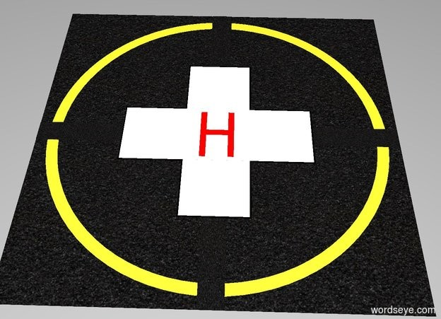 "Input text: The white backdrop. A 1st [black asphalt] square is 64 feet wide and 64 feet deep and 0.001 inches tall.  A 1st lemon circle is 60 feet wide and 0.001 inches tall. The 1st circle is in the 1st square . A 2nd [black asphalt] circle is 56 feet wide and 0.001 inches tall. The 2nd circle is in the 1st circle.  A 2nd [black asphalt] square is 64 feet wide and 4 feet deep and 0.001 inches tall. The 2nd square is in the 2nd circle.  A 3rd [black asphalt] square is 4 feet wide and 64 feet deep and 0.001 inches tall. The 3rd square is in the 2nd square.  A 4th black square is 34 feet wide and 12 feet deep and 0.001 inches tall. The 4th square is in the 3rd square.  A 5th black square is 12 feet wide and 34 feet deep and 0.001 inches tall. The 5th square is in the 4th square.  A 6th white square is 11.5 feet wide and 33.5 feet deep and 0.001 inches tall. The 6th square is in the 5th square.  A 7th white square is 33.5 feet wide and 11.5 feet deep and 0.001 inches tall. The 7th square is in the 6th square.  A 1st red ""H"" is 6 feet wide and 10 feet tall and 0.001 inches deep. The 1st ""H"" is facing up. The 1st ""H"" is in the 7th square."