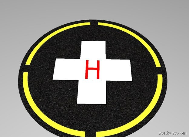 """Input text: The white backdrop. A 1st [black asphalt] circle is 64 feet wide and 0.001 inches tall. A 2nd lemon circle is 60 feet wide and 0.001 inches tall. The 2nd circle is in the 1st [black asphalt] circle. A 1st [black asphalt] square is 60 feet wide and 4 feet deep and 0.001 inches tall. The 1st [black asphalt] square is in the 2nd circle. A 2nd [black asphalt] square is 4 feet wide and 60 feet deep and 0.001 inches tall. The 2nd [black asphalt] square is in the 1st [black asphalt] square. A 3rd [black asphalt] circle is 56 feet wide and 0.001 inches tall. The 3rd [black asphalt] circle is in the 2nd [black asphalt] square. A 3rd black square is 34 feet wide and 12 feet deep and 0.001 inches tall. The 3rd square is in the 3rd [black asphalt] circle. A 4th black square is 12 feet wide and 34 feet deep and 0.001 inches tall. The 4th square is in the 3rd square. A 5th white square is 11.5 feet wide and 33.5 feet deep and 0.001 inches tall. The 5th square is in the 4th square. A 6th white square is 33.5 feet wide and 11.5 feet deep and 0.001 inches tall. The 6th square is in the 5th square. A 1st red """"H"""" is 6 feet wide and 10 feet tall and 0.001 inches deep. The 1st """"H"""" is facing up. The 1st """"H"""" is in the 6th square."""