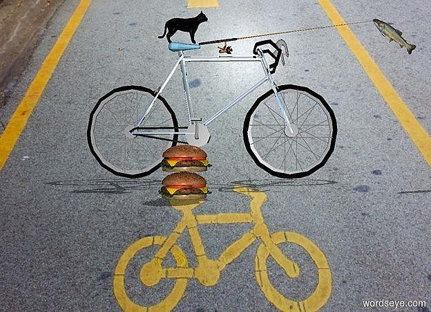 Input text: The bike is silver. The bike is big. The bike is on a street. The bike is facing north. There is a first big burger. it is 8 feet right of the bike. There is a second big burger above the first burger. The bike's seat is sky blue. There is a little cat. The cat is black. The cat faces back. The cat is -4.9 feet in front of and on the bike. a fishing pole is -5.5 feet behind and -.6 feet above the bike. it faces back.it leans 7 degrees to the back. a large trout is -.3 feet behind and -1.5 feet above the fishing pole. it leans 40 degrees to the back.