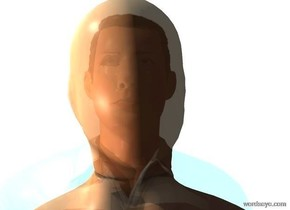 a clear flat wall. a 5.2 foot tall man is .5 foot in front of the wall. he faces back. a 5 foot tall mannequin is  behind the wall. sky is white. ground is invisible. a light is 5 feet left of and -1 foot above the mannequin. sun is sea mist blue.