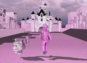 a 100 inch tall shiny 70% dim lilac rose castle is 2 inch above the ground.ground is lilac rose.sun is lilac rose.a 1st 50 inch tall shiny 70% dim lilac rose city block is -20 inch left of the castle. the 1st city block is 20 inch in front of the castle.the 1st city block is facing west.a 2nd 50 inch tall shiny 60% dim lilac rose city block is -10 inch right of the castle. the 2nd city block is facing east.the 2nd city block is 20 inch in front of the castle.ground is [asphalt].a 17 inch tall shiny lilac rose man is 270 inch in front of the castle.the man is facing north.the human head of the man is shiny lilac rose.the human arm of the man is shiny lilac rose.the man is -60 inch right of the castle.a 10 inch tall shiny lilac rose cat is 2 inch left of the man.the cat is facing southwest.the eye of the cat is green yellow.