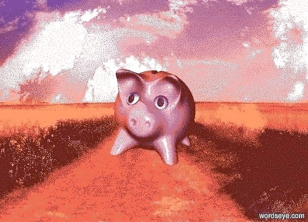 Input text: shiny backdrop is farm. a pig leans 5 degrees to the left. sun is peach. shadow plane is invisible. sky leans 45 degrees to the front.