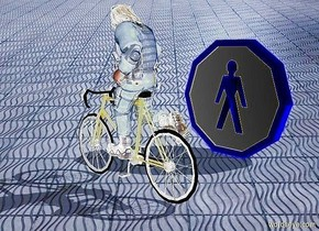 a 100 inch tall  bicycle.the bicycle is shiny gold.sky is gray.a 150 inch tall shiny man is -70 inch above the bicycle.the man is -160 inch in front of the bicycle.the head of hair of the man is shiny white.a 150 inch tall symbol is 150 inch left of the bicycle.the symbol is facing west.sun is delft blue.azimuth of the sun is -60 degrees.