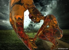 a clear orange hand. a .3 foot tall clear orange person is -.1 foot right of the hand. the person faces the hand. backdrop is storm. the person's head of hair is clear orange. sun is sea mist blue.