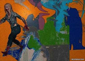 a [sp] backdrop.a 80 inch tall  60% dim petrol blue zombie.