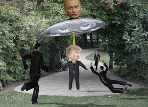 the park backdrop. the small shiny ufo is 2 feet above the 1st man. it is leaning 10 degrees to the right. the yellow cone is -2 feet above the man. it is 6 feet tall and 9 inches wide. the head is -11 inches above and in front of the man. the large second head is -2.7 feet above and -1 foot in front of the ufo. it is leaning 18 degrees to the right.   the 2nd man is 9 feet in front of and to the left of the 1st man. he is facing the first man. a 3rd man is 4 feet in front and -1 foot to the right of the 1st man. he is 5 feet tall. he is facing the 1st man. he is leaning 40 degrees to the front.   a 4th man is 29 feet behind and  2.5 foot to the right of the 1st man. he is facing the 1st man. he is 3.5 feet above the ground.