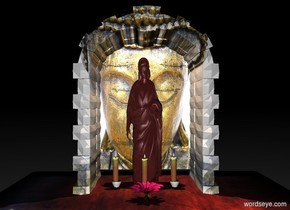 a 3 foot wide and 2 foot tall and 2 foot deep table. a1st  2 foot tall and 1.25 foot deep and 1.5 foot wide [gold] door is -.1 foot above  and -1.25 feet behind the table. a 1.5 foot tall and .4 foot wide and .2 foot deep dull brown statue is -2 feet above the door. a 1st .1 foot wide and .1 foot deep plate is in front of the statue. the plate is on the table. a 1st .3 foot tall candle is -.01 foot above the plate. a 2nd  .1 foot wide and .1 foot deep plate is .2 feet right of the 1st plate. a 2nd .3 foot tall candle is -.01 feet above the plate.. a 3rd  .1 foot wide and .1 foot deep plate is .2 feet left of the 1st plate. a 3rd .3 foot tall candle is -.01 foot above the plate. a small blossom is in front of the door. it is night.  a tiny peach puff light is above the statue.
