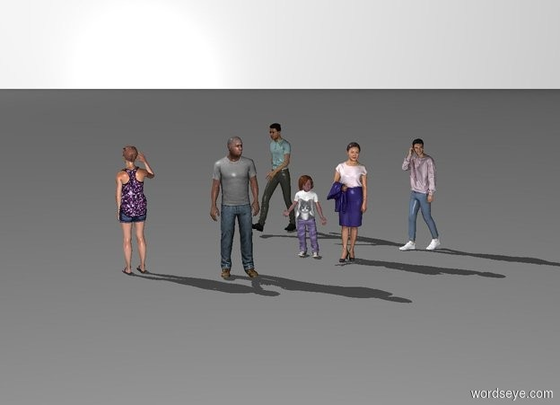 Input text: the white backdrop. a first woman.  first man is 2 foot left of woman and 2 foot to front. man is facing southeast. 5.5 foot tall teenager is 1 foot behind woman and 1 foot to right. teenager is facing man. child is next to woman.  second woman is -2 feet in front of man and 2 feet to left. second woman is facing northwest. second man is 6 foot behind second woman and 1 foot to right. second man is facing second woman.