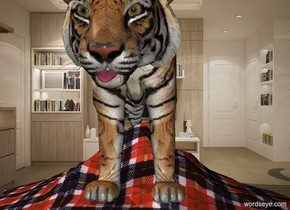 1st tiger is in the living room. A .15 foot tall tongue is -.6 feet in front of and -1.8 feet above 1st tiger. It leans 20 degrees to the front. The tiger is -7.1 feet behind and -1.2 feet above a 1.5 foot tall 6 foot wide 6 foot deep plaid wave.