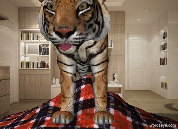 Input text: 1st tiger is in the living room. A .15 foot tall tongue is -.6 feet in front of and -1.8 feet above 1st tiger. It leans 20 degrees to the front. The tiger is -7.1 feet behind and -1.2 feet above a 1.5 foot tall 6 foot wide 6 foot deep plaid wave.