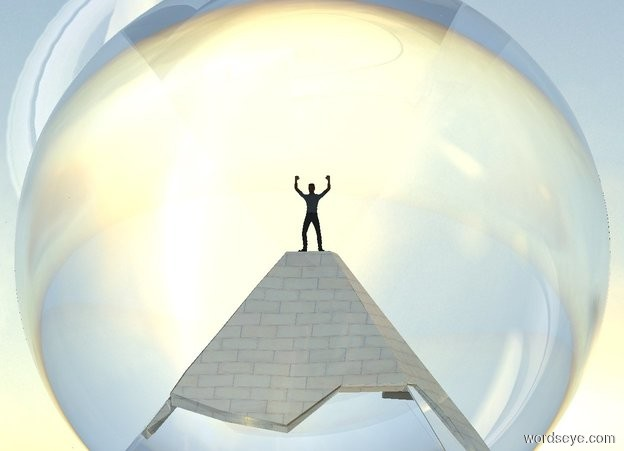 Input text: a 100 foot tall clear pyramid. its top is shiny. a 100 foot tall clear sphere is -50 feet above the pyramid. a 10 foot tall person is above the pyramid. ground is invisible. it is noon. sky leans to the back. sun is linen.