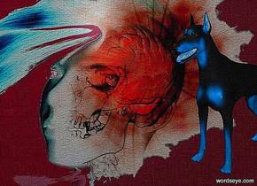 a [fw] backdrop.a 50 inch tall delft blue dog.