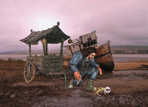 a cart.mud backdrop.a man is in front of the cart.a large frog is in front of the man.a linen light is in front of the frog.pale shadow plane.pink sun.a crystal ball is 2 inches right of the frog.
