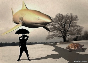 a [snowdrift] backdrop.sun is  bisque. a 100 inch tall and 150 inch wide and 400 inch deep 85% dim bisque shark.two 30% dim orange lights are 60 inch above the shark.a 95 inch tall black man is -210 inch above the shark.a 50 inch tall black umbrella is -25 inch above the man.a 35 inch tall shiny bisque hawksbill sea turtle is 170 inch right of the man.the hawksbill sea turtle is facing east.