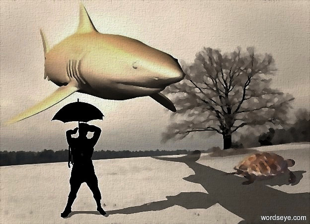 Input text: a [snowdrift] backdrop.sun is  	bisque. a 100 inch tall and 150 inch wide and 400 inch deep 85% dim bisque shark.two 30% dim orange lights are 60 inch above the shark.a 95 inch tall black man is -210 inch above the shark.a 50 inch tall black umbrella is -25 inch above the man.a 35 inch tall shiny bisque hawksbill sea turtle is 170 inch right of the man.the hawksbill sea turtle is facing east.