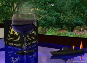 Park backdrop. A glass is -5 inch above a shiny navy table. A small image-15543 cube is left of and behind the glass. A 2 inch high ship is 2 inch right of and -2 inch behind the glass. It is facing southwest. It is -5 inch above the table. A very tiny 80% dark shiny fire is on the ship. An extremely tiny fire is 1 inch in front of and 0.5 inch left of and -1.5 inch above the fire. The sun is pink. Camera light is cream.